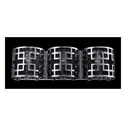 Z-Lite - Z-Lite Mirach Bathroom Light X-V3-HC938 - The chrome outer cage of this three light vanity uses boldly modern geographic styling to create a clean and contemporary look. The inner shade is made up of black string, which subdues the light and creates a lovely contrast with the glimmering crystal.