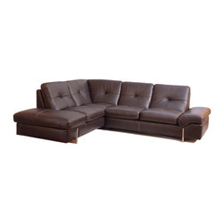 Nicoletti - 945 Modern Brown Italian Leather Sectional Sofa by:Nicolleti, Left Facing Chaise - Modern Style Sectional Sofa