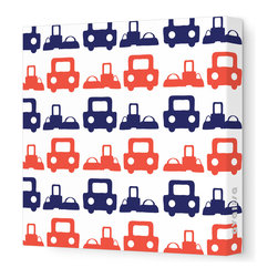 "Avalisa - Things That Go - Roadtrip Stretched Wall Art, 12"" x 12"", Navy Red -"