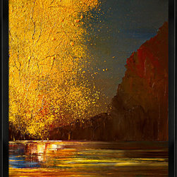 overstockArt.com - Kopania - Autumn Oil Painting - Autumn is a beautiful image of trees, river and landscape during fall when nature changes its colors from green to red, yellow and brown. This canvas print will bring colors and beauty to every room. Justyna Kopania is from Warszawa, Poland. In her words when she paints she tries to show the 'world', which could be seen by looking at reality that surrounds us, from another perspective, unusual, remote, sometimes through the eyes of the child, sometimes music, composer, or someone who looks lichen on the sea, the moon , the sky and the stars ..., the river ... looks out the window and looks out into the street. Walking down the street looking at people's faces. In rain, snow or fog. Perhaps the world that surrounds us really is quite different than we perceive it every day.