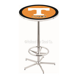Holland Bar Stool - Holland Bar Stool L216 - 42 Inch Chrome Tennessee Pub Table - L216 - 42 Inch Chrome Tennessee Pub Table  belongs to College Collection by Holland Bar Stool Made for the ultimate sports fan, impress your buddies with this knockout from Holland Bar Stool. This L216 Tennessee table with retro inspried base provides a quality piece to for your Man Cave. You can't find a higher quality logo table on the market. The plating grade steel used to build the frame ensures it will withstand the abuse of the rowdiest of friends for years to come. The structure is triple chrome plated to ensure a rich, sleek, long lasting finish. If you're finishing your bar or game room, do it right with a table from Holland Bar Stool.  Pub Table (1)