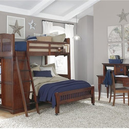 NE Kids - Walnut Street Locker Loft Bed - Chestnut Brown - FUB554 - Shop for Bunk Beds from Hayneedle.com! The Locker Loft Bed Chestnut presents an elegant dormitory feel that perfect for a single studious child or two older kids. This charming set is constructed using a combination of solid poplar hardwood and select veneers and features a rich chestnut finish. The frame is fully-slatted and needs no box springs; the guardrail features a hanging nightstand. A four-shelf storage locker serves as the footboard to the piece providing an out-of-the-way storage space that greatly increases the room's useable area. The area beneath the top bunk can be filled either by another full-sized bed or by the optional desk attachment creating an enclosed study area. CPSC recommends the tops of the guardrails must be no less than 5 inches above the top of the mattress and that top bunks not be used for children under 6 years of age. About New Energy KidsNE Kids is a company with a mission: to create and import truly unique furniture for your child. For over thirty years they've been accomplishing this mission with flying colors one room at a time. Not only will these products look fabulous they will provide perfect safety for your children by adhering to the highest standards set by the American Society for Testing and Material and the Consumer Products Safety Commission. Your kids are in the best of hands and everyone will appreciate these high-quality one-of-a-kind pieces for years to come.