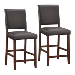 "Leick Furniture - ""Leick Furniture Wood Upholstered Counter Height Stool (Set of 2), C..."" - ""A flared back and Cappuccino wood finish offer functional comfort and a versatile design on these sturdy counter stools.  The crowned seat is padded for comfort and upholstered in Ebony faux leather. Dimensions (W x L x D): 18"""" x 17"""" x 40""""Material: Solid hardwood/PVCFinish: Cappuccino/EbonyCountry of Origin: MalaysiaCounter Height -- seat 24""""Solid hardwood constructionPadded and upholstered seat and backSimple assembly. Pebble texture faux leather. Cappuccino finish with ebony faux leather"""