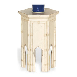 """Kathy Kuo Home - Algiers Moroccan Style Contemporary Tea Accent Table Ivory 23""""H - Be prepared for impromptu gatherings with this wildly versatile Asian-inspired accent piece. Grouped together or on its own, it makes the perfect table or extra seat."""
