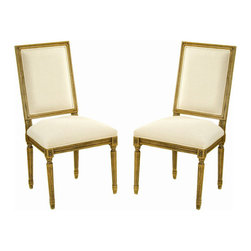 Safavieh - Safavieh Antiqued Fairfax Oak Side Chair in Oak and Cream (Set of 2) - Safavieh - Dining Chairs - AMH2826ACSET2 - Bring elegance and sophistication into your home with these Safavieh Antiqued Fairfax Oak Side Chair (Set of 2). The chairs feature solid distressed antiqued oak finish with a cream cotton upholstery.