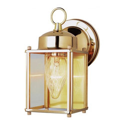 Joshua Marshal - One Light Antique Brass Clear Rectangle Glass Wall Lantern - One Light Antique Brass Clear Rectangle Glass Wall Lantern