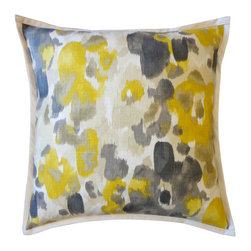 JITI - Large Water Yellow Pillow - 20x20 Water Yellow Pillow. 100% Cotton. Insert is 95% feathers and 5% down. Invisible Zipper. Dry Clean Only.