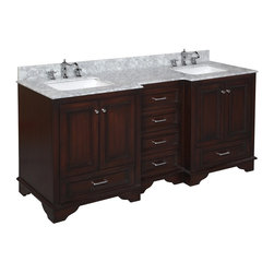 Kitchen Bath Collection - Nantucket 72-in Bath Vanity (Carrara/Chocolate) - This bathroom vanity set by Kitchen Bath Collection includes a chocolate colored cabinet with soft close drawers, Carrara marble countertop, double undermount ceramic sinks, pop-up drains, and P-traps. Order now and we will include the pictured three-hole faucets and a matching backsplash as a free gift! All vanities come fully assembled by the manufacturer, with countertop & sink pre-installed.