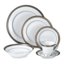 Noritake - Noritake Crestwood Platinum 5-Piece Place Setting - Nothing sets a better table than white formal china accented by platinum. A stunning leaf scroll motif over the platinum trim adds just enough panache to put it in a class all its own.