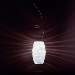 """Vistosi - Vistosi Damasco SP G Pendant Light - Product Description: The Damasco pendant by Vistosi is designed by Paolo Crepax 2003. The light is created using """"Bozzolo"""" technique, which entails manually applying threads of moulded glass in a pre-shaped element in blown crystal. This beautiful pendant has been handmade on the Venetian island of Murano. Every light comes with a certificate of authenticity.  Product Description:  The Damasco SP G D1 pendant by Hampstead 