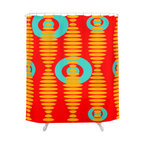 Crash Pad Dessigns - Crash Pad Designs Funky Shower Curtain- Abe - Keep your bathroom decor rocking with this sound wave-inspired mod shower curtain. This bright, geometric pattern will add verve to your decor, and is made of 100 percent polyester, with 12 stitched button holes for hanging.