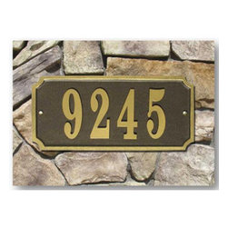 "Qualarc, Inc. - Waterford Rectangle Cast Aluminum Address Plaque, Bronze w/Gold Border - Powder coated aluminum address plaques have a gold border and can fit up to five 4"" gold aluminum numbers. 4"" gold cast aluminum are numbers included. Usually ships within 5 business days. Dimensions: 13"" x 6"" x 0.5"""