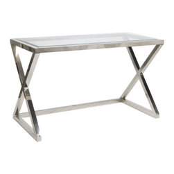Worlds Away Mark Desk-Console - Worlds Away Mark Nickel Plated Desk-Console