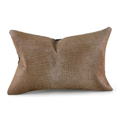 Pfeifer Studio - Crocodile Embossed Cowhide Pillow, Golden Brown - This statement-making pillow in cowhide embossed with the look of crocodile has a black linen back. The emboss on this decorative throw pillow can soften with heavy use and it is not recommended for commercial spaces. Each is fitted with a medium-fill feather and down inner and finished with a hidden zipper. Our pillows are each individually handmade-to-order using natural materials, each is considered unique and one-of-a-kind.
