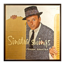 """Glittered Frank Sinatra Sinatra Swings Album - Glittered record album. Album is framed in a black 12x12"""" square frame with front and back cover and clips holding the record in place on the back. Album covers are original vintage covers."""
