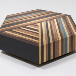 Parquetry Coffee Table - This is a very special piece. If you're prepared to splurge on a coffee table for a special room, this may be the answer. The parquetry is noteworthy in itself, but the bright blue stripe elevates this table to a whole new level. This is definitely a treasure to save for.