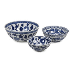 "IMAX CORPORATION - Tollmache Bowls - Set of 3 - In a style reminiscent of New Burleigh and antique transfer ware, the Tollmache bowls have a subtle, sophisticated oriental inspiration mixed with modern technique that makes this set of three a one of a kind collection for any home. Set of 3 bowls in varying sizes measuring approximately 10-12-16""H x 10-12-16""W x 4.25-5.25-7.25"" each. Shop home furnishings, decor, and accessories from Posh Urban Furnishings. Beautiful, stylish furniture and decor that will brighten your home instantly. Shop modern, traditional, vintage, and world designs."