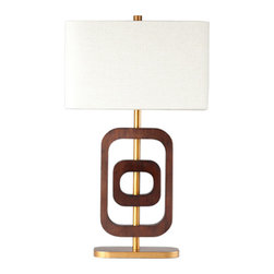 Ziqi Home - Coco 2 Ring - Inspired by geometric form, this ring lamp was recreated for a mid-century/modern style. Designed with chestnut wood, hand brushed gold metal plating and topped with a linen shade, Coco Ring will dazzle anywhere. Not only will you appreciate its design but its rings can be twisted to create a 2D/3D effect; adding dimension to your space.