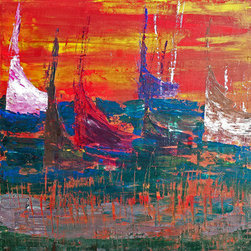 In The Regatta (Original) by Frances Jemini - This bright abstract is an ode to the regal sailboat, and is one piece in a series of four, depicting my love of the sunset. Utilizing nothing but a palette knife, the broad strokes and purposeful knife-cuts capture my love of the ocean, setting sun and the elegant Regatta race.