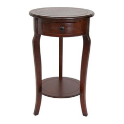 Oriental Furniture - End Table - Classic round lamp table with a small drawer for storage. Features a circular, scored top and a practical lower shelf that reinforces the three curved legs. Perfect size and height for an end table, nightstand, or telephone table, or as a lamp table next to a bed or sofa. Features: -Round scored top.-Classic style.-1 Small drawer.-Practical lower shelf reinforces three curved legs.-Distressed: No.Dimensions: -Overall Product Weight: 10.5 lbs.