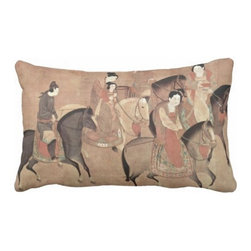 """Poetic Pillow - Horse Riding Pillow - 16"""" X 24"""" Song Dynasty Asian Folk Art Pillow - This pillow was inspired by the fine works of art in imperial China. From Tang dynasty to Qing dynasty we found beautiful calligraphic works depicting botanical floras, cultural traditions, landscape and scenic views. Transform any space with a pillow from Poetic Pillow. Each pillow is inspired by fine works of art and printed on the front and back. Covers are made of pre-shrunk satin-like polyester fabric. All seams are finished to prevent fraying and pillow covers have a knife edge finish.. A concealed zipper allows for ease of inputting pillow inserts. A duck feather insert is included for soft yet supportive feel. Cushion inserts are encased in a cotton cover and filled with duck feather. All research, design and packaging is completed in Oakland, California."""
