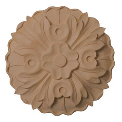 "Ekena Millwork - 9 1/4""W x 9 1/4""H x 1 1/8""D Large Kent Floral Rosette, Maple - Our rosettes are the perfect accent pieces to cabinetry, furniture, fireplace mantels, ceilings, and more.  Each pattern is carefully crafted after traditional and historical designs.  Each piece is carefully carved and then sanded ready for your paint or stain.  They can install simply with traditional wood glues and finishing nails."