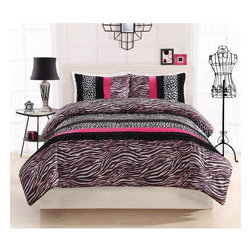 Seventeen Essentials - Zebra Leopard Stripe Comforter Set - CS8493PKFU-1500 - Shop for Home Furnishings and Accents from Hayneedle.com! The Zebra Leopard Stripe Comforter Set is just what you need to bring the wild side into you room. A splash of color in your choice of options plays up the stark black and white leopard and zebra prints creating an ensemble that cool and functional at the same time. With 100% hypoallergenic microfiber polyester face and fill this comforter set is easy to maintain and retains its beauty even after prolonged use. Available in your choice of color and size. Includes a comforter and two standard shams (Twin size comes with one sham). Machine wash cold/gentle do not bleach tumble dry low.Comforter Dimensions:Twin: 86L x 66W in.Full: 86L x 76W in.Other Dimensions:Standard Shams: 20L x 26W in.About Pem AmericaMakers of high-quality handcrafted textiles Pem America Outlet specializes in bedding that enhances your comfort and emphasizes the importance of a good night's rest. Quilts comforters pillows and other items for the bedroom are made with care and craftsmanship by Pem America. Their products cover a wide range of materials styles colors and designs all made with long-lasting quality construction and soft long-wearing materials. Details like fine stitching embroidery and crochet decorations and reinforced seaming make Pem America bedding comfortable and just right for you and your family.