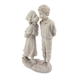 EttansPalace - Childhood Romance Memories Home Garden Statue Sculpture Figurine - Not waiting on tradition, this old-fashioned miss leans in to leave an innocent angel kiss on her beaus cheek in this endearing, child garden statue. With the look of a classic European antique, our almost foot-and-a-half tall, child garden sculpture is cast in quality designer resin with a faux stone finish.