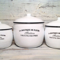 French Enamelware 'La Boutique De Fleurs' Canisters by Antique Pop Art - I love this charming set and can see it resting on my kitchen counter. It's perfect for flour, coffee beans and sugar — all the things I love having within easy reach.