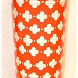 "Umbrella Stand ""Coptic Trellis Orange"" - This whimsical umbrella stand will brighten up a rainy day!"