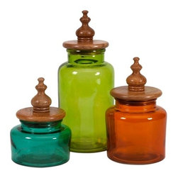 Jewel Tone Glass and Wood Lid Canisters - Set of 3 - *Rich jewel toned glass is topped with mango wood lids and turned wood finials for a fashionable set of canisters great for any kitchen or storage use! Food safe.