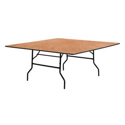 Flash Furniture - 72'' Square Wood Folding Banquet Table - This wood folding table is very useful since it can be instantly stored and is easy to carry at the same time. This durable table was built for constant use in hotels/ banquet rooms/ training rooms and seminar settings. Not only is this table durable enough for the everyday rigors of commercial use this table can be used in the home when it comes to setting up your own personal party plans.