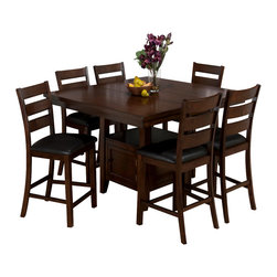 Jofran - Jofran 337-54 Taylor 7 Piece Butterfly Leaf Counter Height Table Set w/ Storage - This sleek counter height dining collection will be the perfect addition to your dining space. The collection includes a storage base for keeping dining essentials close at hand for easy access. Doors on opposite sides of the storage base make retrieval convenient and a shelf above the enclosed storage space may be used for additional storage or display, adding to the dining room ambiance. The large square counter height table has plenty of space for guests to gather around. The clean lines and comfortable design make this collection the ideal mixture of style and function.