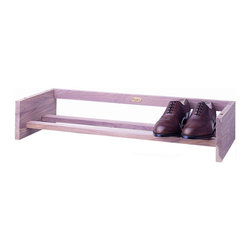 Woodlore - Regular Cedar Shoe Rack in Natural Finish - Holds 3 pairs of men's or 4 pairs of women's shoes. Shoes can face toward or away from the front of the rack. Aromatic Cedar, with it's distinct fragrance helps repel insects and keeps closets and drawers smelling naturally fresh. Light sanding of the Cedar rejuvenates the natural aromatic scent. No assembly required. 29 in. W x 12 in. D x 5.5 in. H (4 lbs.)Simple, sleek and stackable, our Cedar racks organize and store shoes while giving your closet a fresh scent.