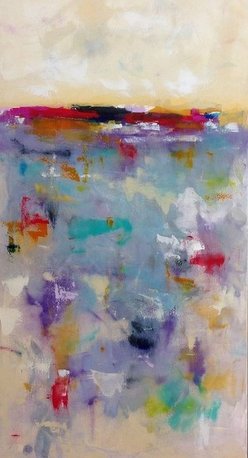 "Linda Donohue - Colorful Abstract Landscape/ City Original Painting- City Brights 24 X 48 - This is an original acrylic painting on gallery wrapped canvas painted with a pallet knife. It measures 24 x 48 x .5"" depth and is wired and ready to hang or will fit nicely into a frame. This painting is inspired by the San Francisco Bay Area where I live."