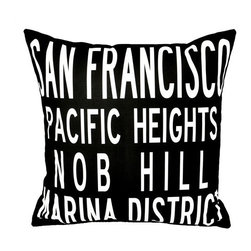 "Uptown Artworks - San Francisco Pillow - Features: -Material: Natural cotton / linen. -We recommend spot-cleaning or wash in cool water with phosphate-free detergent. -Zipper closure, plush feather and down insert. -Made in the United States. -Eco-friendly. -Overall dimensions: 20"" H x 20"" W, 2 lbs."