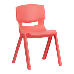 Flash Furniture - Flash Furniture Red Plastic Stackable School Chair with 13.25 Inch Seat Height - This chair is the perfect size for Kindergarten to 2nd Grade sized children. Having young children sit in a chair that is designed for them is important in developing proper sitting habits that will last them a lifetime. Not only are these chairs designed properly, but they are lightweight so kids can feel independent by moving the chairs themselves. [YU-YCX-004-RED-GG]