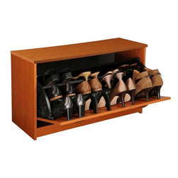 Venture Horizon - Single Shoe Chest - Cherry - Stackable Shoe Cabinets...Organizes & Protects Your Investment. Just think about how much money we spend on just one pair of shoes. It adds up. Before you know it there are thousands of dollars worth of shoes cluttering up the floor of the closet. Our good looking, practical cabinets will accommodate the largest shoe collections. Getting them off the floor. Neatly organized in their own space. Keeping them clean and protected. Also eases the selection process each and every morning. The Single units are stackable. The Single unit measures 18in. high x 30in. wide x 11 1/2in. deep. The Double unit measures 34in. high x 30in. wide x 11 1/2in. deep. The Tripleunit measures 48in. high x 30in. wide x 11 1/2in. deep.Constructed from durable melamine laminated particle board these cabinets are 30in. wide and 11 1/2 deep. Stain resistant and easy to clean. Available in Oak, Cherry, White, Black. Assembly required. Made in the USA.