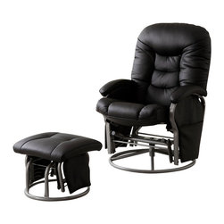 Coaster - Coaster Recliners with Ottomans Casual Glider Recliner Chair in Black Leatherett - Coaster - Recliners - 600227 - Swivel, glide or recline your way to comfort with this versatile collection of recliner with ottoman sets. Coordinating ottomans make each recliner, glider or combination chair a perfect fit for your living room, media room or den. Side pockets on select seats provide convenient storage for remotes, books, magazines and more. A wide range of fabrics and finishes even let you choose the chair and ottoman set that suits your tastes. Place in your living room or den for plush comfort from dawn to dusk, tuck into a corner with a floor lamp for an ultra cozy reading nook or group with your love seat and sofa for a stylish accent to existing decor. Regardless of where or how you use them, these fantastic recliner and ottoman sets are sure to bring distinctive style and unsurpassed comfort into your home!