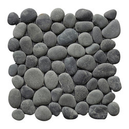 island stone - Perfect Pebble Tile, Medan Charcoal - Bring natural beauty into your home with this gray pebble floor tile. Whether you use it as an accent or to cover your entire shower floor, you will love the look and feel of a real stone floor.