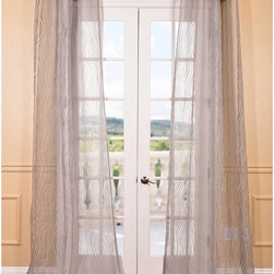 EFF - Piera Taupe Grey Patterned Sheer Curtain Panel - This beautiful patterned sheer curtain panel features a taupe grey color scheme in a soft wavy stripe pattern that will create a beautiful diffusion of light that will add elegance and poise to any room.
