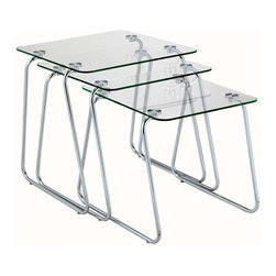 Adesso - Adesso Slice Nesting Table, Chrome/Glass - WK2130-22 - Set of three tempered glass rectangular tables