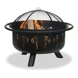 Uniflame - 32-inch Palm Tree Outdoor Fire Pit - Create a cozy gathering place in your backyard with the 32-inch Palm Tree Outdoor Fire Pit. The oil rubbed-bronze finish adds warmth and richness to any outdoor living space. It includes an easy lift spark arrestor with hook to keep the fire stoked, and a steel grate. * Oil rubbed bronze/black bowl. Easy Loading and Tending . Easy lift spark arrestor with hook. Steel grate. 32 in. Diameter x 25.2 in. H