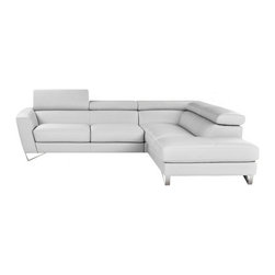 JNM Furniture - Nicoletti  Sparta Italian Leather Sectional Sofa, White, Right Facing Chaise - Italian Leather sectional set fashionable and stylish. Seats and backs have high density foam to give you extra comfort and support.