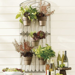 Weathered Metal Wall Planter - Making use of wall space is a perfect solution for small areas. I love this wall-mount trellis with five rings for your favorite summer plants.