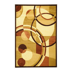 Ottomanson - Light Brown Contemporary Circles Design Rug - Moderno Collection offers a wide variety of machine made modern design hand-carved area rugs with high, durable, stain-resistant pile in trendy colors.