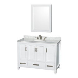 Wyndham Collection - Wyndham Collection WCS141448SWH Sheffield 48-in. Single Bathroom Vanity Set with - Shop for Bathroom Cabinets from Hayneedle.com! There's no way to live in a home without using the bathroom so why wouldn't you want this essential space to get a first-rate treatment? It starts with the Wyndham Collection WCS141448SWH Sheffield 48-in. Single Bathroom Vanity Set with Medicine Cabinet - White. As the focal point of any washroom this versatile piece is ready to be contemporary when you need it but it also has the ability to work well in more traditional spaces. The elegant casual style of this wide single-sink vanity starts with a cabinet of solid wood that's put through a 12-step preparation and finishing process that results in a versatile design with a clean white finish that's environmentally friendly and low in VOCs. Four doors open to reveal three open storage compartments and three pull-out drawers offer further storage. Each deeply doweled drawer slides on fully extendable metal glides so you can use every inch of interior storage. The drawers and doors all feature self-closing soft-touch latches. A full range of material and color options let you customize the vanity top and undermount sink to your personal tastes. You even have the option of not purchasing either leaving you open to do some serious customizing on your own. A matching mirror extends this charming style up onto your walls with the same wooden frame and finish supporting a thick beveled-edge mirror. Brushed chrome hardware pulls provide a pleasant contrast to the snowy white finish and give this cabinet an appealing contemporary look.Product Dimensions:Vanity dimensions with top: 48W x 22D x 35H in. Medicine cabinet dimensions: 24W x 6.25D x 33H in. About the Wyndham CollectionWyndham and the Wyndham collection are all about refinement detailing uniqueness quality and longevity. They are dedicated to the quality of their products and own the factory where each piece is constru