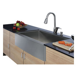 Vigo - Vigo Farmhouse Stainless Steel Kitchen Sink Faucet and Dispenser - Enhance your kitchen workspace with a Vigo Farmhouse Stainless Steel Kitchen Sink, Faucet and Dispenser
