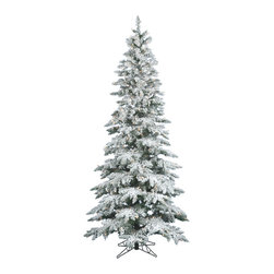 "Vickerman - Flocked Slim Utica Dura-Lit 400CL (7.5' x 43"") - 7.5' x 43 Flocked Utica Fir Tree with 1019 PVC tips, 400 Clear Dura-Lit� Lights Includes metal hinged branch construction and metal stand. Dura-lit Lights utilize microchips in each socket so bulbs stay lit even when some bulbs are broken or missing."