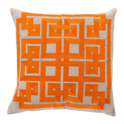 Burnt Orange Decorative Pillow - Cotton embroidery on oatmeal-colored linen describes the satin gleam and substantial turns of a continuous geometric pattern, the adornment of the Burnt Orange Decorative Pillow. Adding an intense pop of heat to your palette along with a twisting grid of bold shapes, this accent cushion is a superb choice for contrasting with cooler color schemes or complementing on-trend fruit shades.